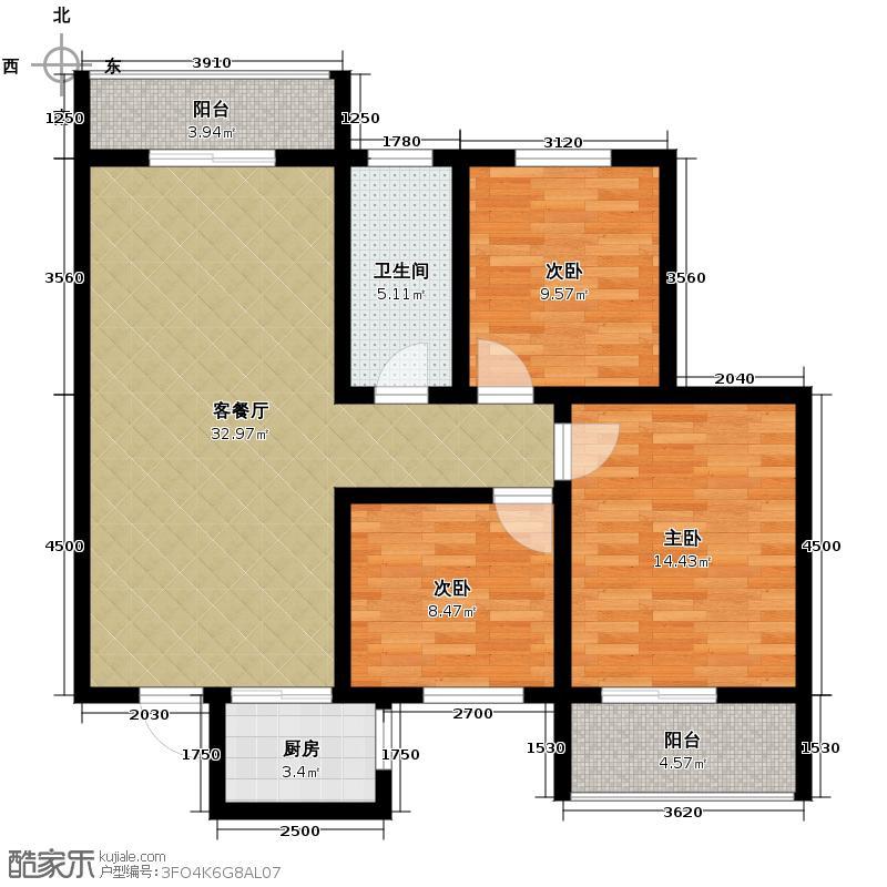 碧玺华庭116.00㎡C户型3室2厅1卫