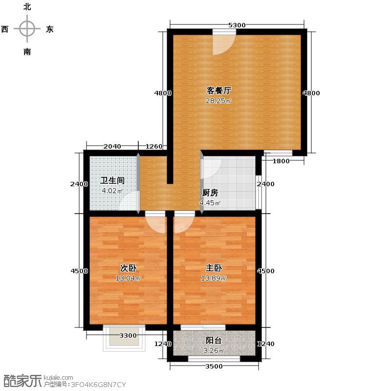 雅荷四季城92.32㎡I5、6号楼朝南53米客厅、次卧飘窗户型10室