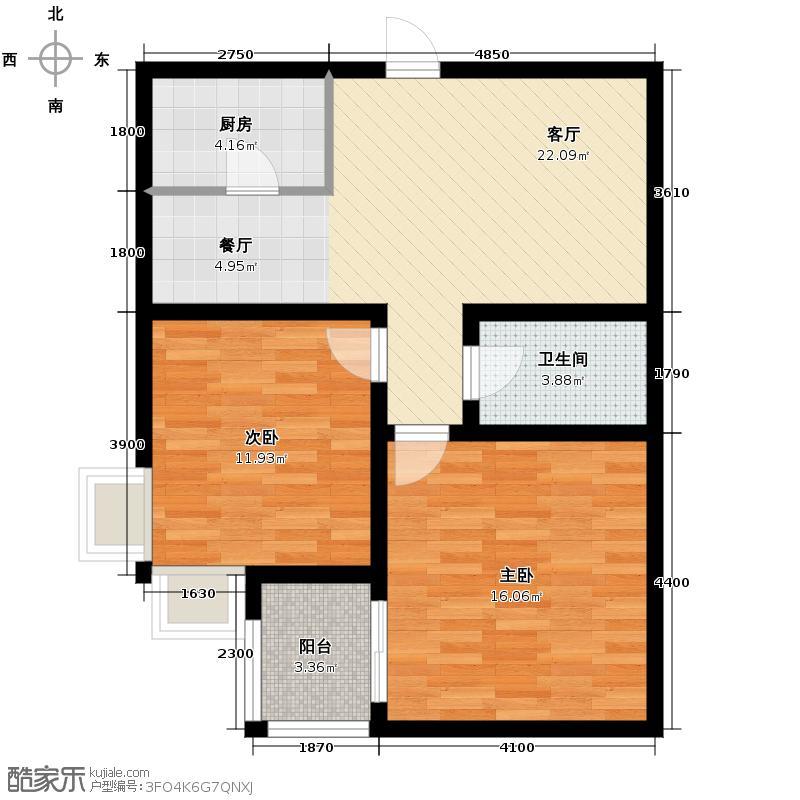 龙祥御湖85.67㎡图为C户型2室2厅1卫