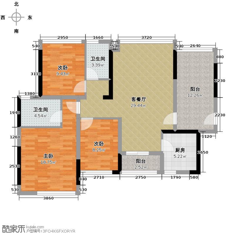 金地格林上院三期104.93㎡户型3室1厅2卫1厨