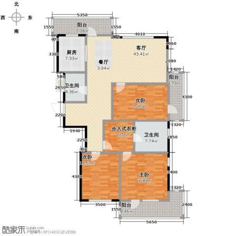 万科城峰汇3室1厅2卫1厨180.00㎡户型图