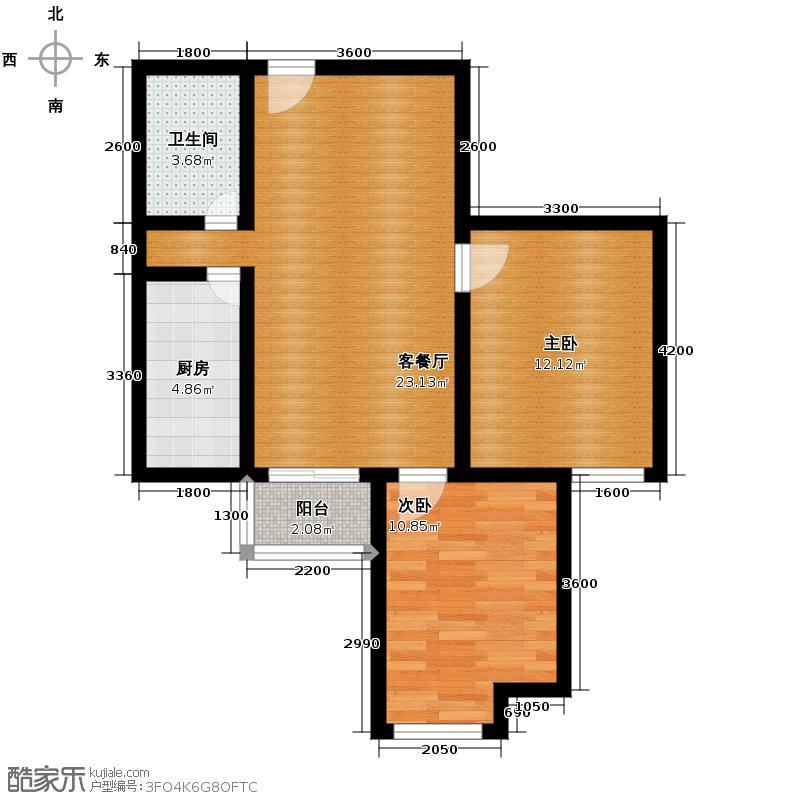 雅荷四季城78.16㎡F8号楼客厅连休憩阳台、卧室南向户型10室