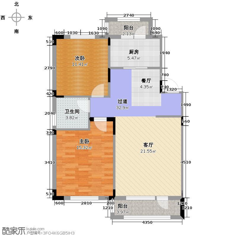 力旺康城90.00㎡多层D1户型2室2厅1卫