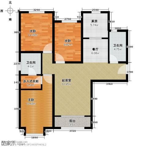 绿宸万华城3室2厅2卫0厨119.00㎡户型图