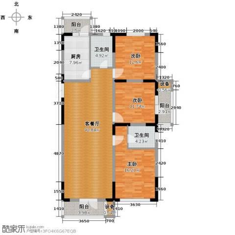 同方广场3室2厅2卫0厨136.00㎡户型图
