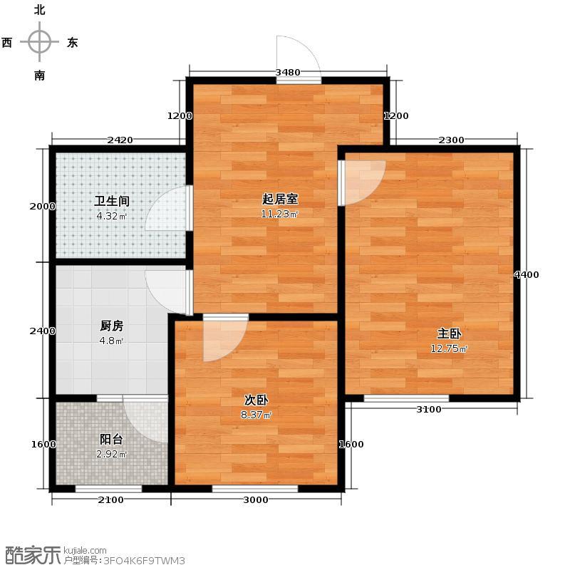枫蓝国际40.67㎡10-11号楼户型2室1厅1卫