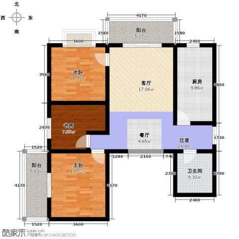 上水观园3室2厅1卫0厨129.00㎡户型图