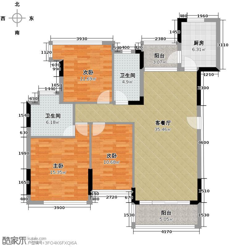 金地格林上院三期111.34㎡户型3室1厅2卫1厨