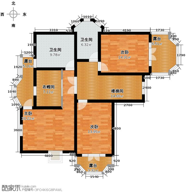 保利十二橡树庄园309.00㎡012B二层平面图户型10室