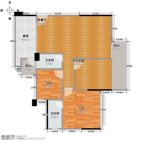 五福里2室2厅2卫0厨114.00㎡户型图