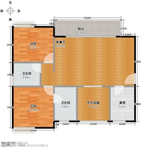 江湾国际2室2厅2卫0厨93.00㎡户型图