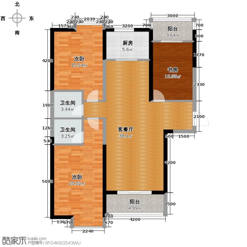 鼎正中央领郡120.00㎡X3东单元西户标准层3室户型3室2厅2卫