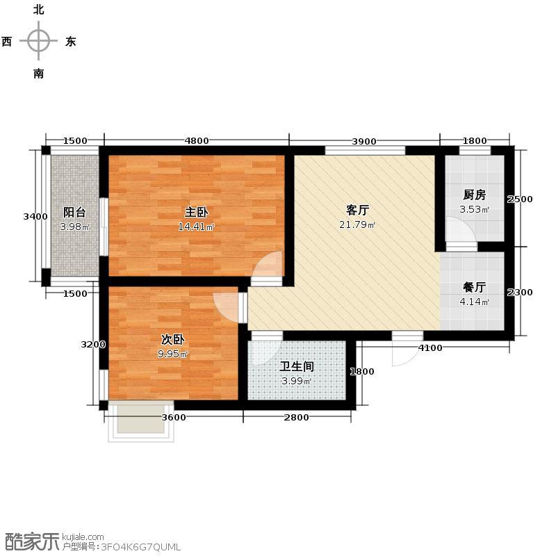 龙祥御湖81.29㎡图为D户型2室2厅1卫