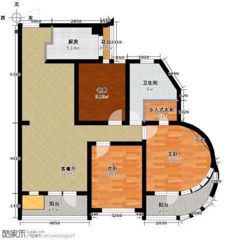 钓鱼台七号3室1厅1卫1厨117.00㎡户型图