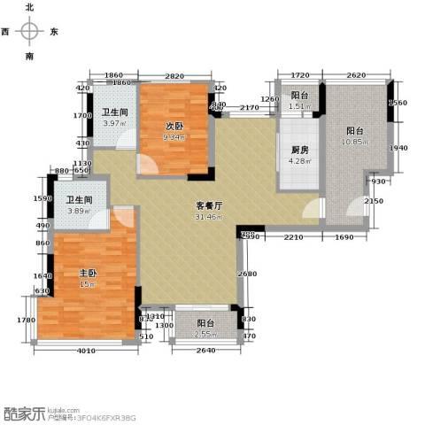 金地格林2室1厅2卫1厨118.00㎡户型图