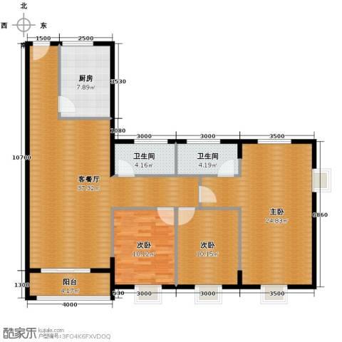 瑞康花园3室1厅2卫1厨141.00㎡户型图