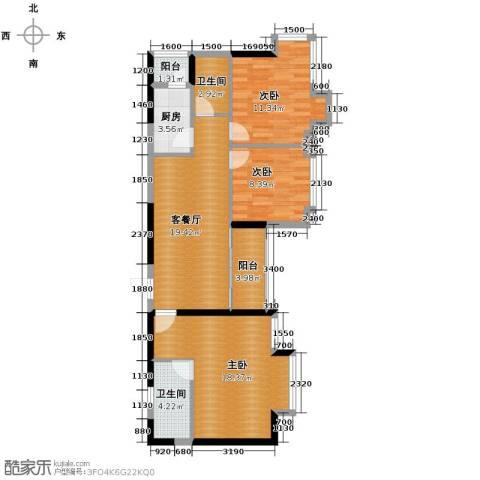 金莎雅苑3室1厅2卫1厨104.00㎡户型图