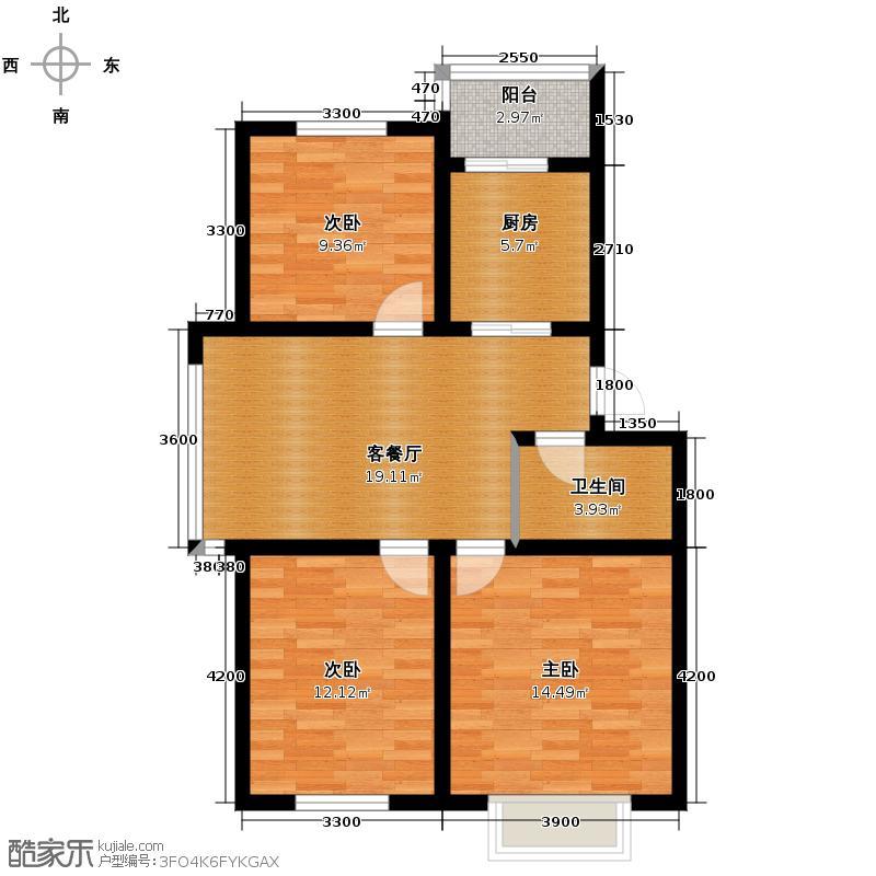 百荷湾91.00㎡户型3室1厅1卫
