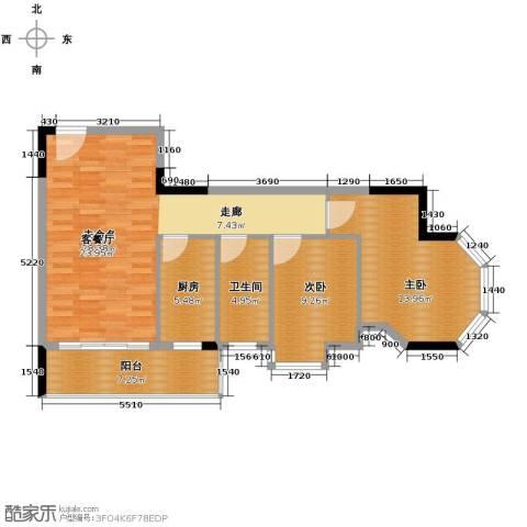 大步海滨花园三期2室2厅1卫0厨90.00㎡户型图