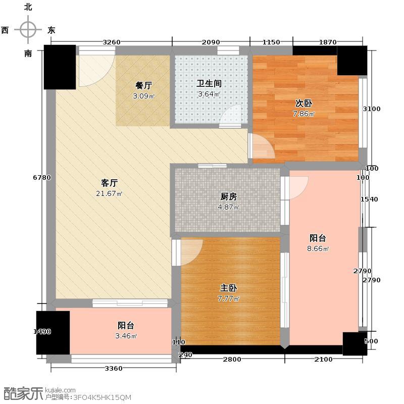 龙泉天立广场82.64㎡A-5户型2室1厅1卫1厨