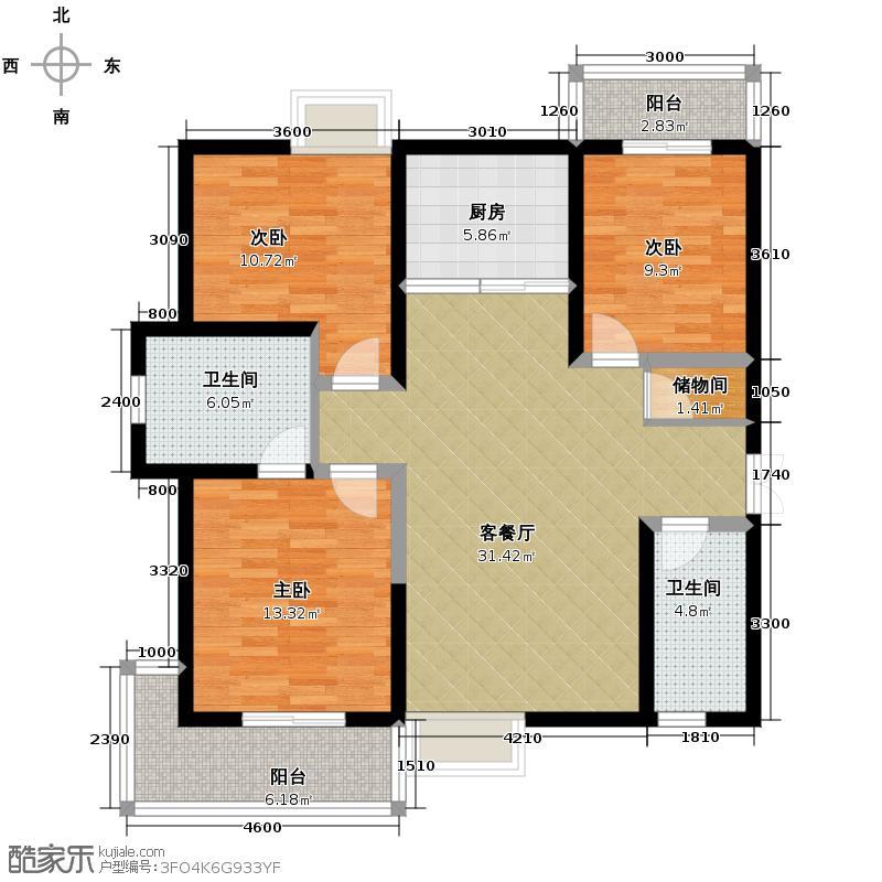 瑞泰卡地亚135.37㎡5号楼1单元A3室户型3室2厅2卫