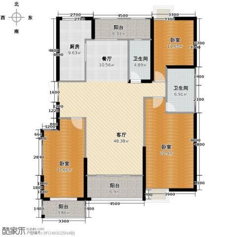 鼎正中央领郡3室2厅2卫0厨144.00㎡户型图
