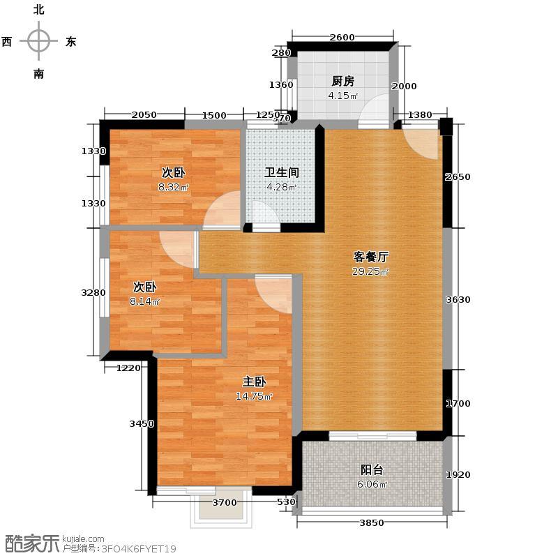 天朗御湖102.03㎡D4户型3室2厅1卫