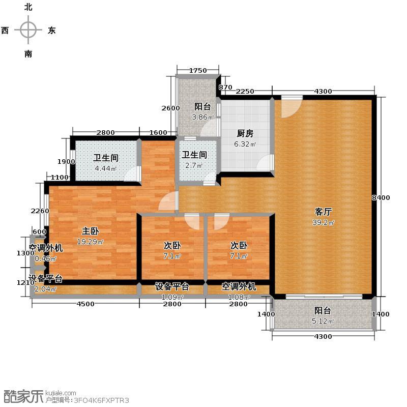 金地格林上院三期113.41㎡户型3室1厅2卫1厨