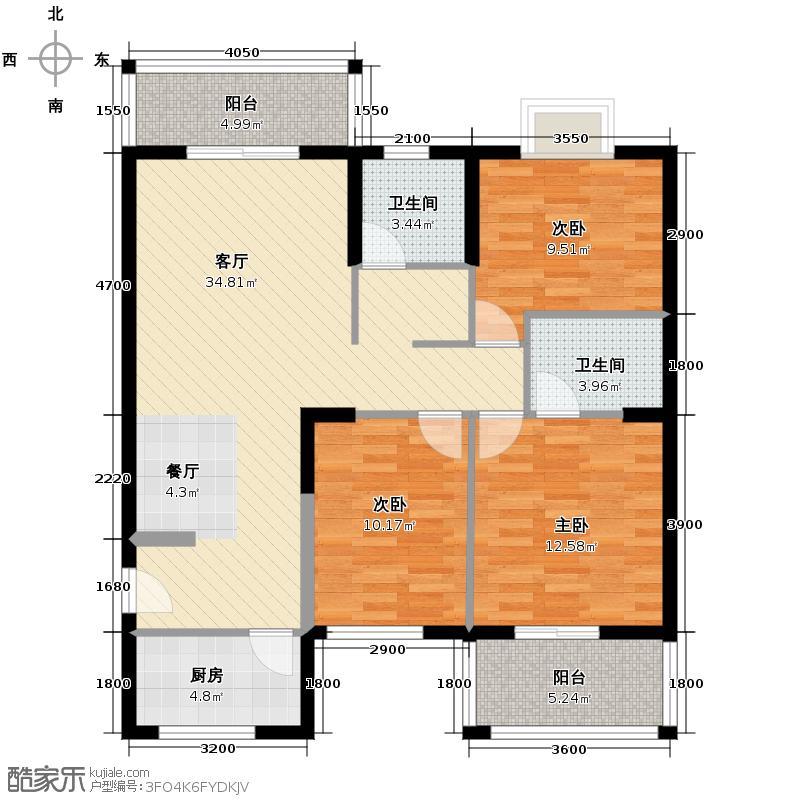 天朗御湖119.97㎡F4户型3室2厅2卫