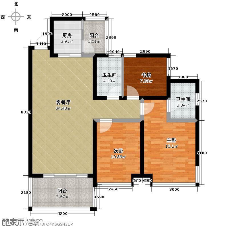 鹿港小镇103.78㎡户型3室1厅2卫1厨