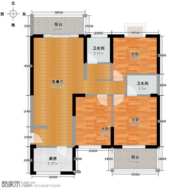 天朗御湖121.22㎡F4户型3室2厅2卫