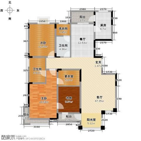 绿地新里中央公馆3室1厅2卫1厨145.00㎡户型图