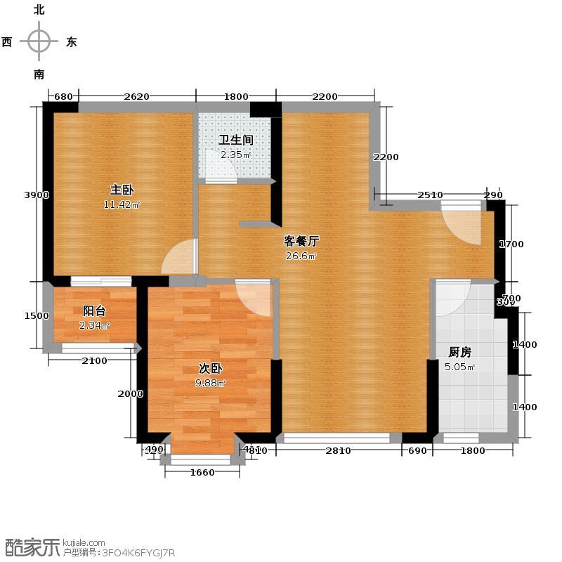 天朗御湖79.96㎡E2户型2室2厅1卫