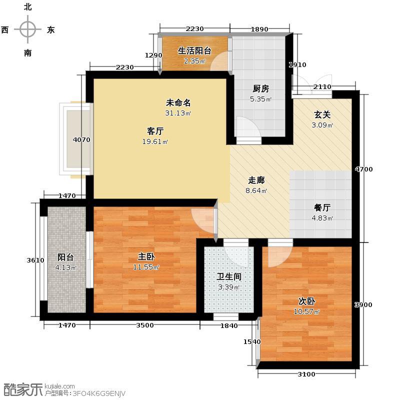 航天常青苑98.00㎡高层C户型2室1卫1厨