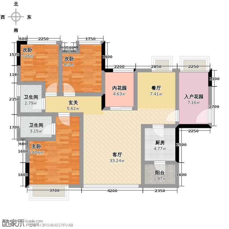新里城108.00㎡C1户型3室2厅2卫