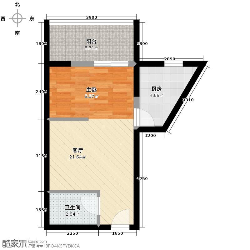 天朗御湖48.17㎡H3户型1室1厅1卫