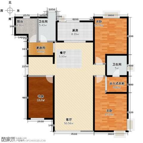 万科城峰汇3室1厅2卫1厨160.00㎡户型图
