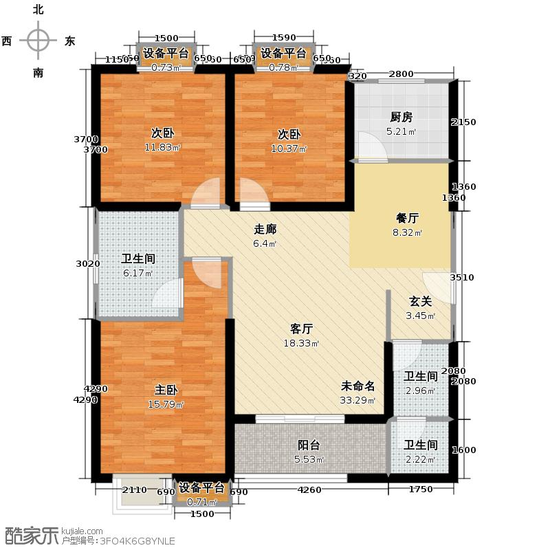 凤城庭院129.43㎡户型3室2厅1卫