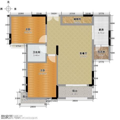丰泰旗山绿洲2室2厅1卫0厨85.00㎡户型图