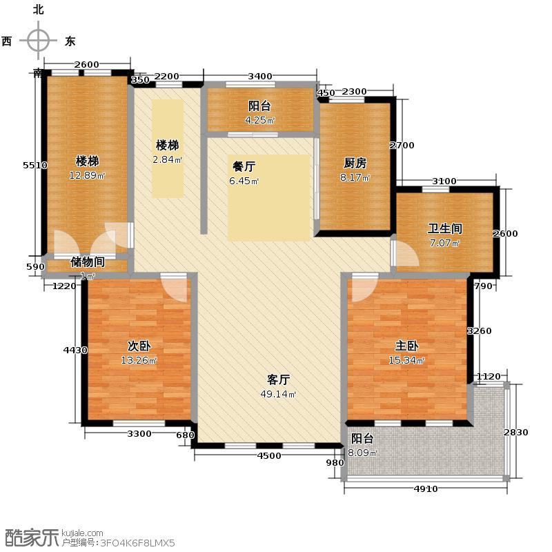 力旺塞歌维亚132.16㎡户型2室1厅1卫1厨
