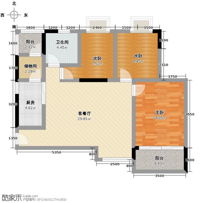 畔月湾广场90.92㎡C1户型3室1厅1卫1厨