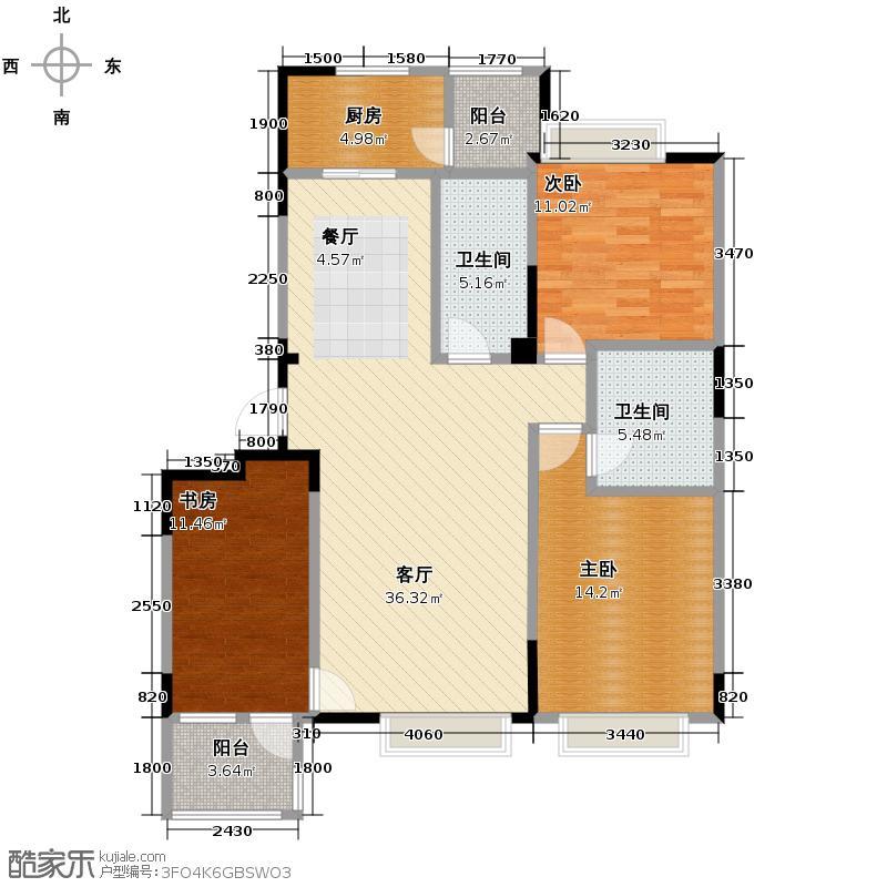 保利百合香湾133.00㎡一期C户型3室2厅2卫