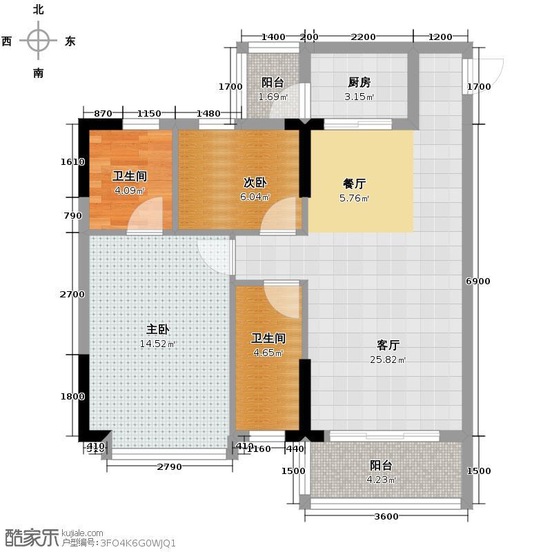 甲壳虫之家73.69㎡户型2室1厅2卫1厨