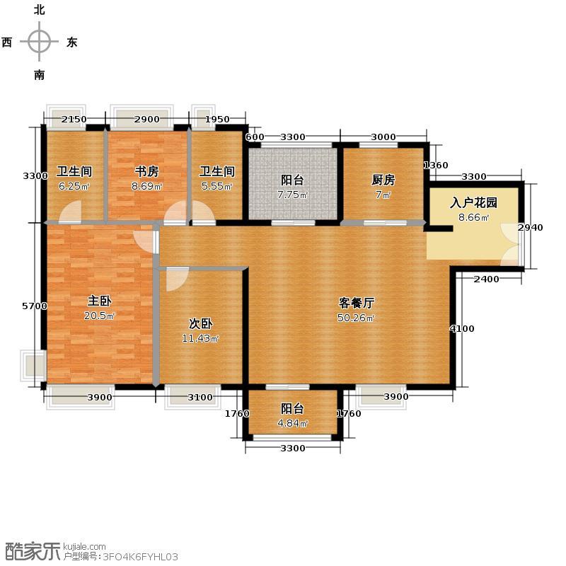 鼎峰尚境151.00㎡1栋3+户型4室2厅2卫