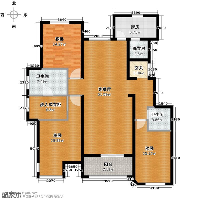 万科柏翠园170.00㎡A户型3室2厅2卫