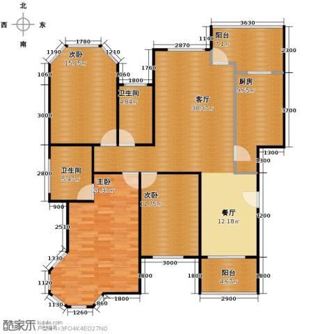 东方花城3室1厅2卫1厨123.00㎡户型图