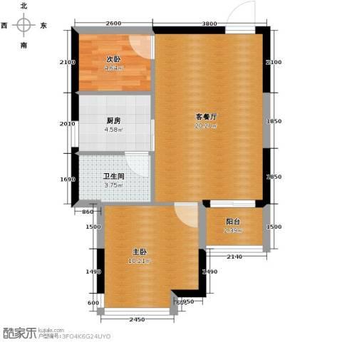 金莎雅苑2室1厅1卫1厨65.00㎡户型图
