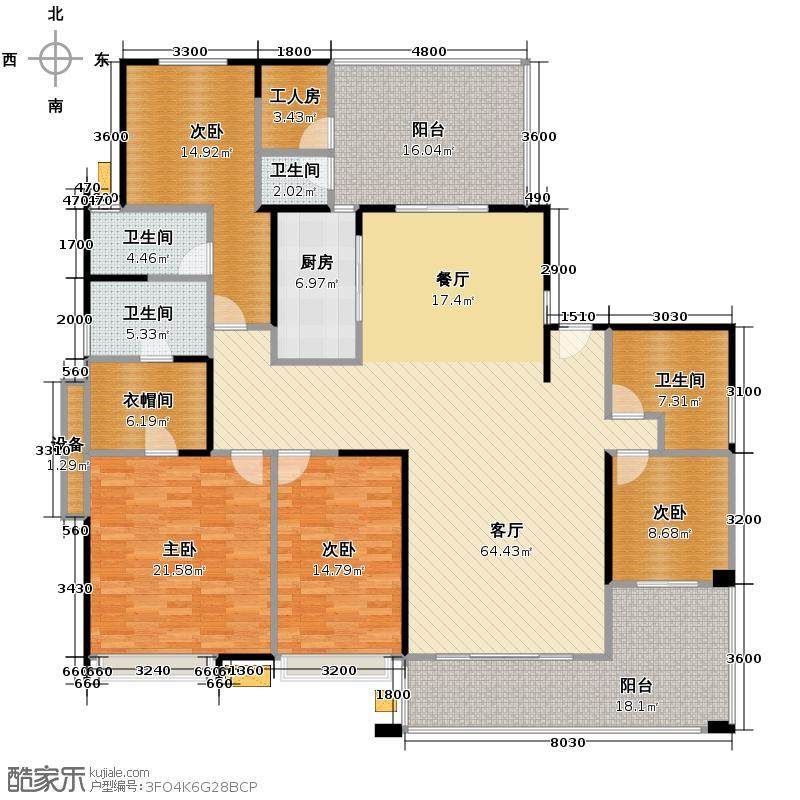 鸿基紫韵235.00㎡J2三阳台5米客厅连8米阳台户型10室