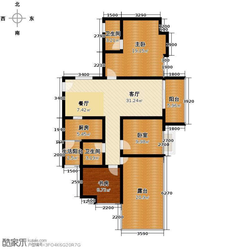 金莎雅苑125.87㎡户型2室1厅2卫1厨