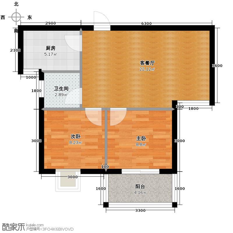 水岸东城58.02㎡东城宫邸户型2室1厅1卫1厨
